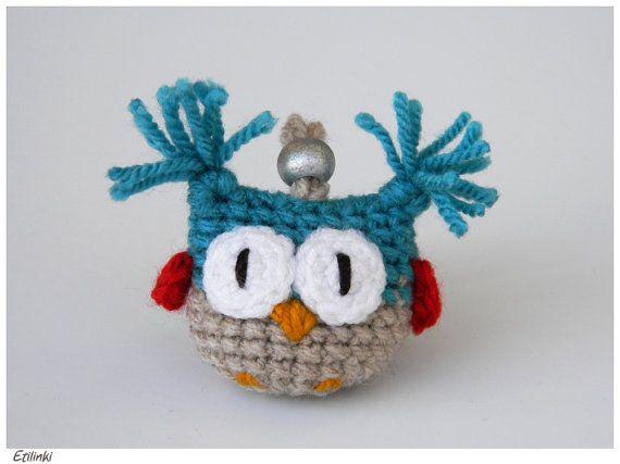 Beautiful Christmas keychain - Cool silver owl hanging decoration - Christmas owl - Handmade original gift for boys - Xmas gift for girls
