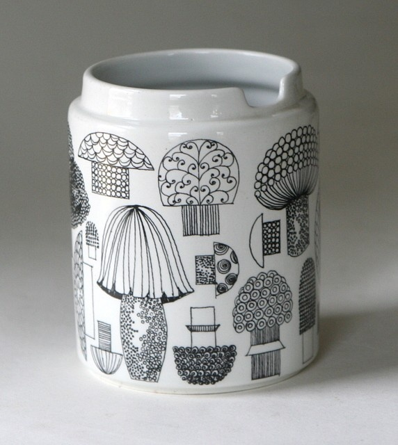 Arabia of Finland mushroom jar.  Because EJ loves mushrooms.