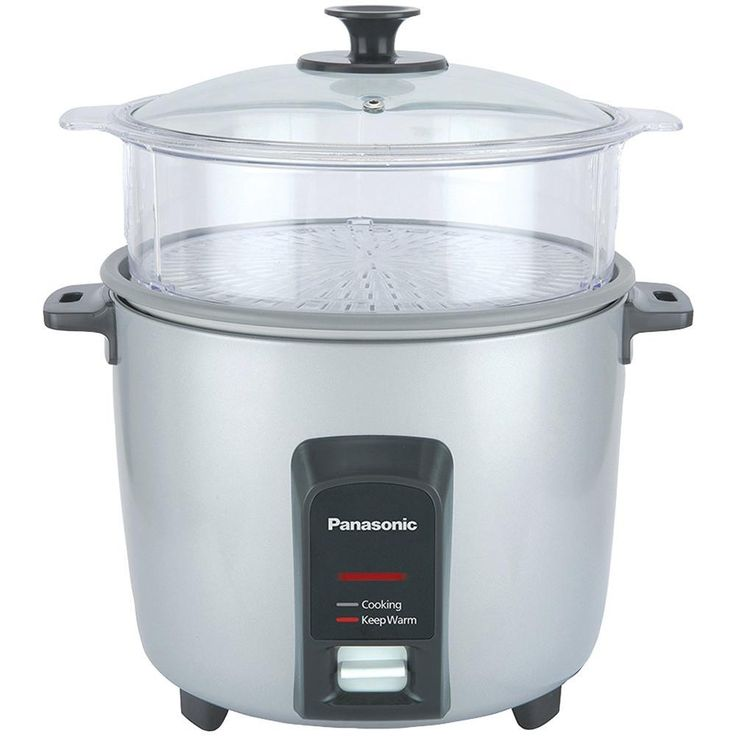PANASONIC SR-Y22FGJL 12-Cup Automatic Rice Cooker (Silver). 12-cup rice capacity;  2-dish separator;  Keep-warm function for up to 5 hours;  Cooks rice & steams vegetables, fish & meats simultaneously ;  Durable, anchor-coated nonstick inner cooking pan eliminates sticking & evenly distributes heat for faster cooking & more uniformly prepared rice;  Quick cleanup with smooth, nonstick inner & outer coatings;  1-touch controls;  Stay-cool handles;  Includes steaming basket, nonstick...