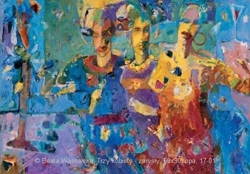 Beata Wąsowska, Trzy kobiety – zmysły, 60×90, olej na papierze Arche, 1997, nr kat. 17-01