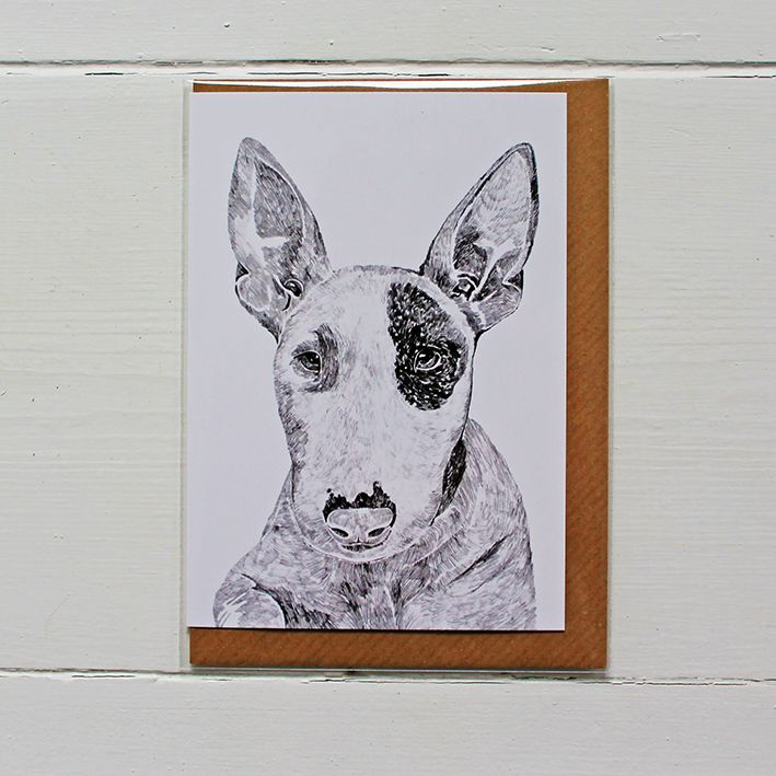 Beautifully designed greetings card by Ros Shiers, featuring Heston The Bull Terrier.