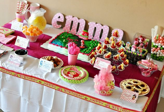 Strawberry Shortcake Birthday Party Treats Table Kids