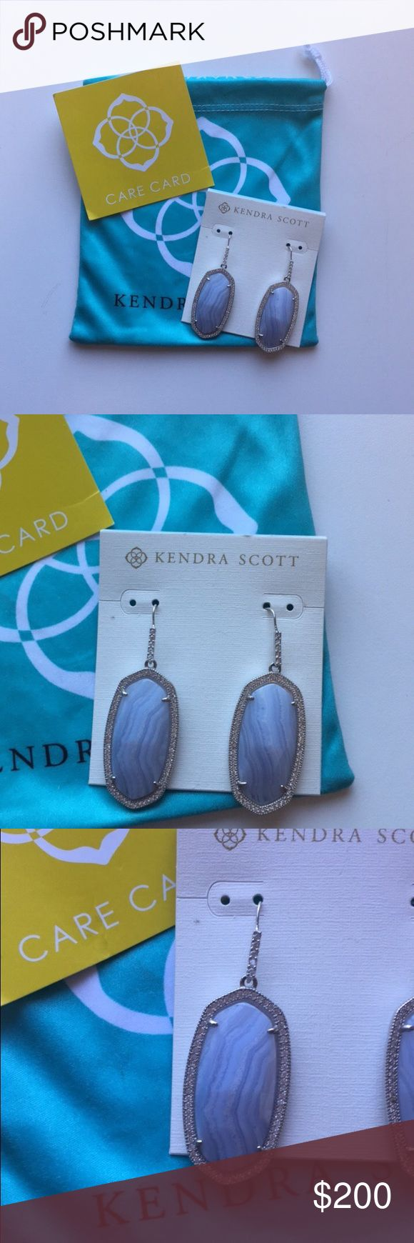 "Kendra Scott Ellen's in Blue Lace Agate Crystal-traced frames and polished facets lend spectacular shine to Blue Lace Agate drop earrings. 2"" drop; 3/4"" width. French wire. Rhodium/Agate. No trades please! Kendra Scott Jewelry Earrings"