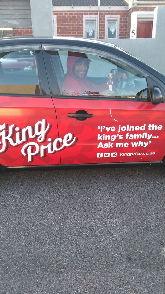 One of our #KingPrice #Insurance drivers getting paid to get the conversation started. #EarnExtraCash #BrandYourCar #Bucks4Influence #RoyalFamily
