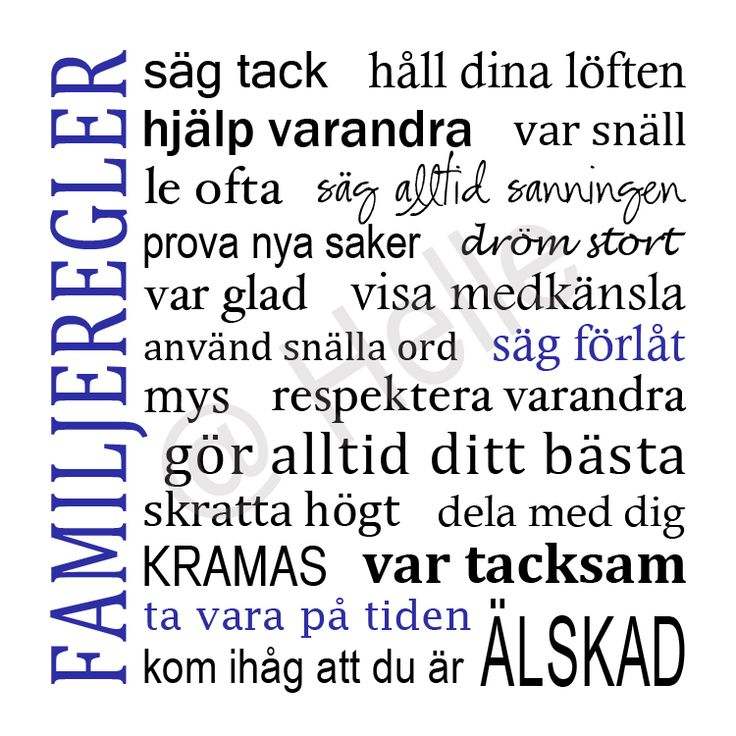 """Family ""              Storlek 18x18 cm (120 kr)   Storlek 25x25 cm (150 kr)   Färg: valbar      ""Familjeregler ""             Storlek 1..."
