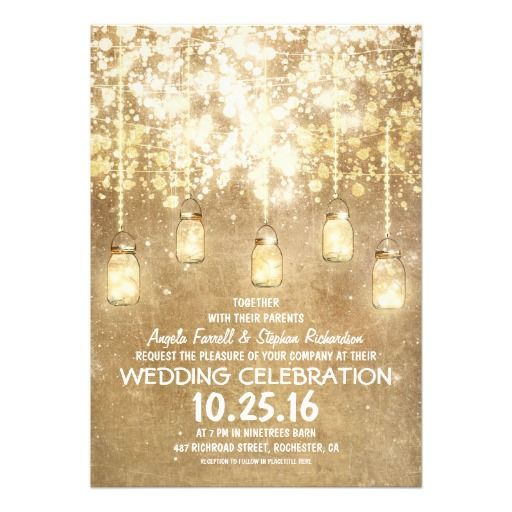 String lights sparkly mason jars wedding invitations with a lot of glitter shimmer and lights cute fun and modern mason jars invitation