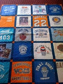 Old T shirt and jersey quilt. I want to do this with all of Grant's sports/camp shirts