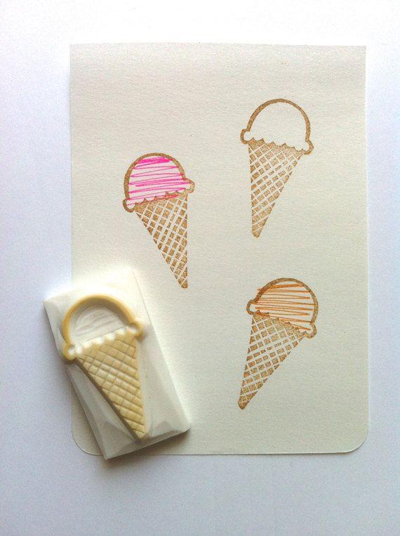 ice cream rubber stamp hand carved rubber stamp door talktothesun, $7.00