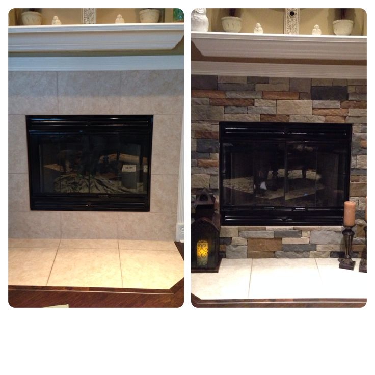 Airstone remodel on my fireplace. Completely easy DIY.                                                                                                                                                                                 More