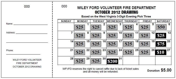 Monthly Calendar Raffle : Theraffleticketstore quot jumbo calendar raffle ticket a