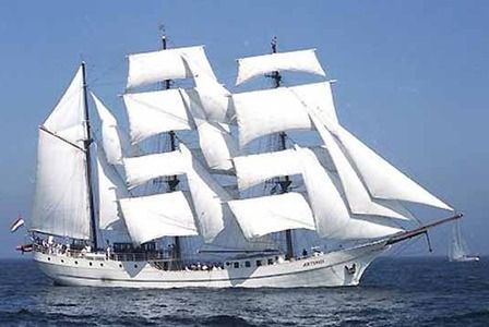 """The tall ship """"Artemis"""", one of the world's last traditional square-rigged whalers."""