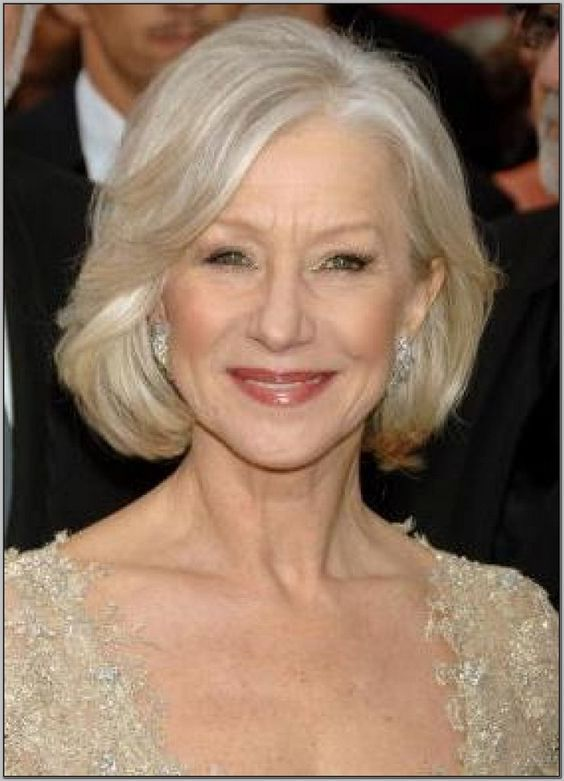 chin length bob hairstyle for women over 60 over 60