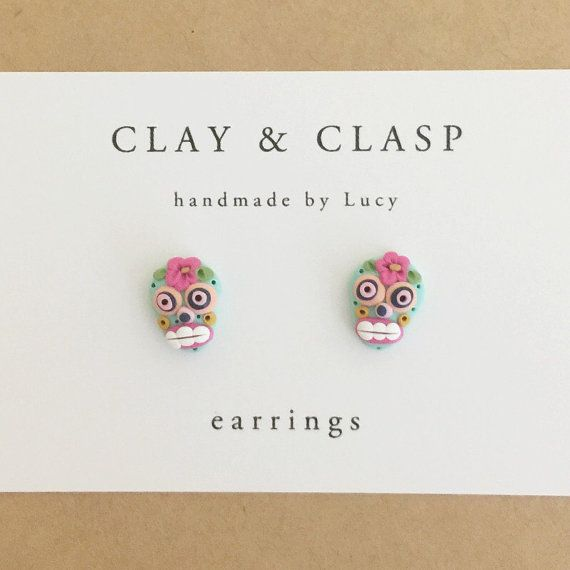 Sugar Skull Earrings - beautiful handmade polymer clay jewellery by Clay & Clasp