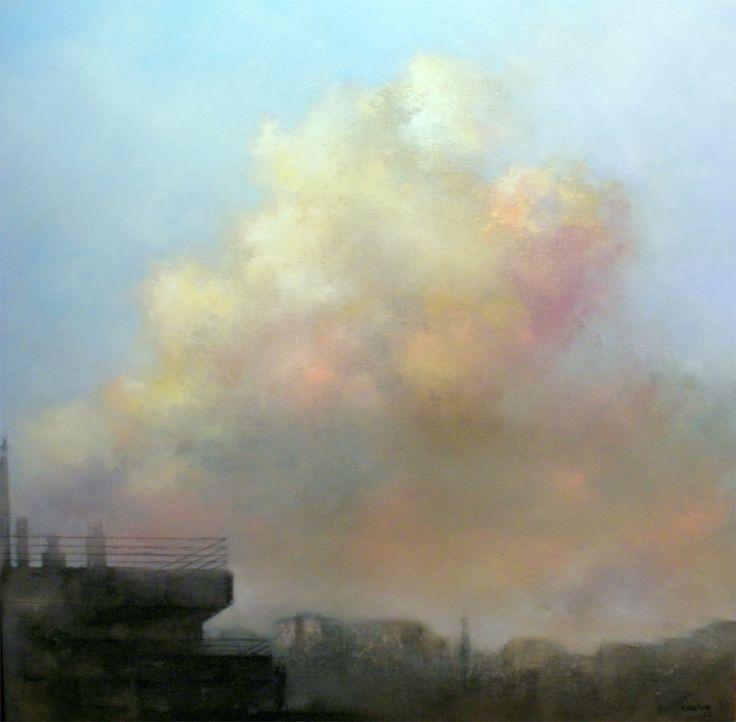 Formação de nuvens no meio da tarde, original Nature Oil Painting by TOMAS CASTAÑO