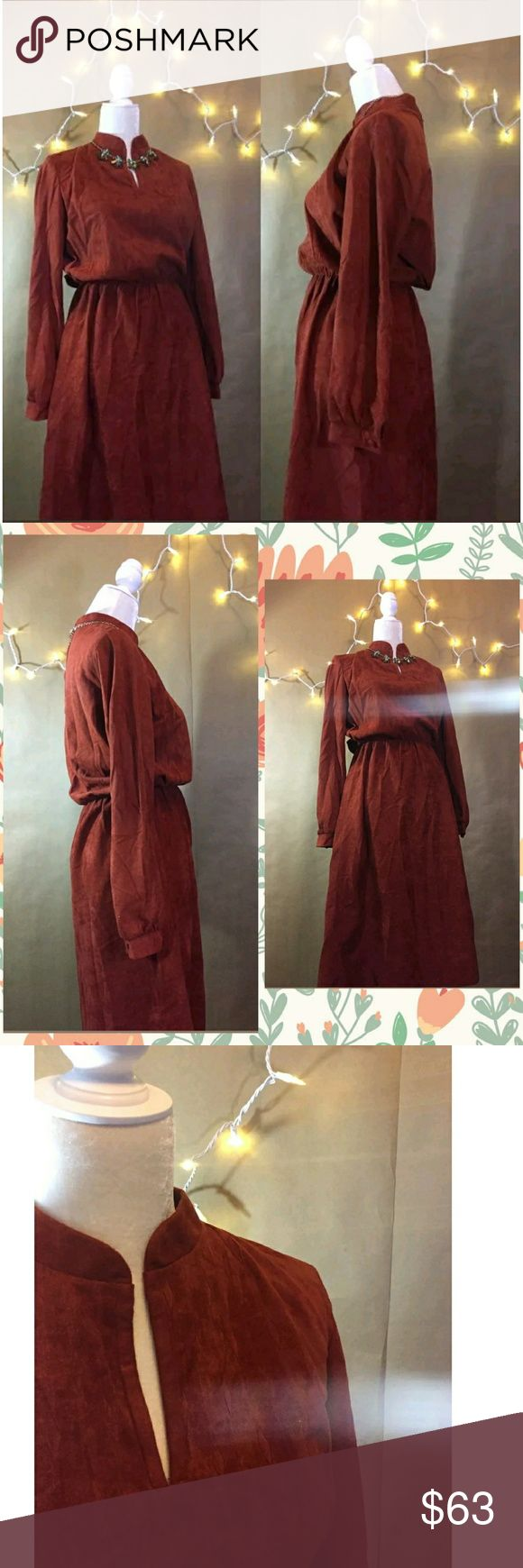 🎀Vintage Dress Kay Windsor Vintage 1970s.  No Size tag but I'm assuming Size 16 from measurements  Wide 20 length 46.5  Stretch waist  Small unstitched in middle of waist band  Color is a burnt orange red This beautiful Vinatge Kay Windsor Dress has a nice suede feel to it.  💕Reasonable Offers Considered  🚫 Accessories and other items not included for styleing purposes only🚫 Vintage Dresses Midi