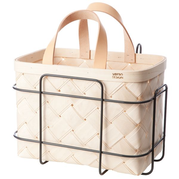 Lastu birch basket for bicycle, leather handles, by Verso Design.
