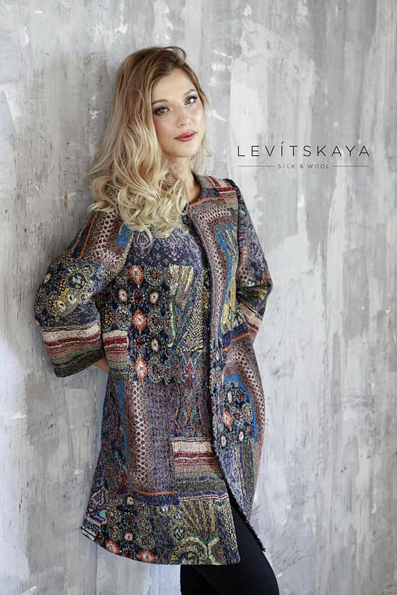 Treat yourself to the absolutely gorgeous stylish hand felted lightweight and elegant patchwork woolen coat! Size US 8-12. This increadibly lightweight warm and comfortable coat hand crafted by me with wet felting techniques handed down through thousands of years. The feltmakers