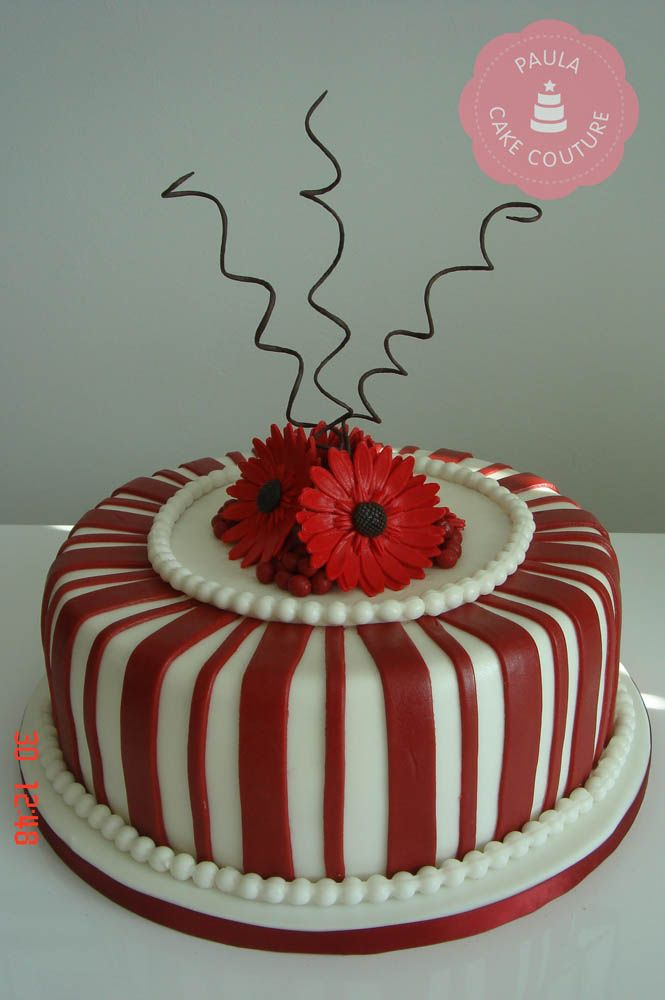 Gerbera Flower Ruby Wedding Cake Anniversary