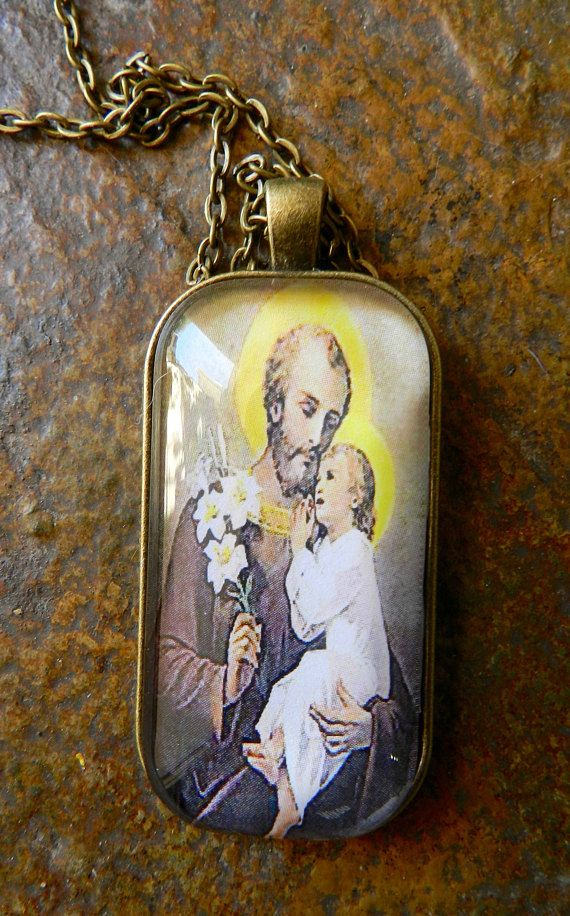 St Joseph Child Jesus Christ Glass Tile Pendant Necklace