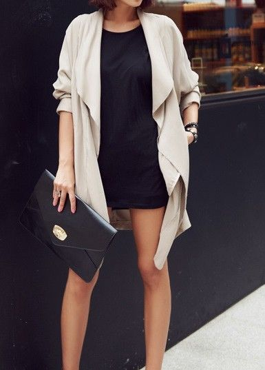 Simple T mini dress under a slouchy jacket