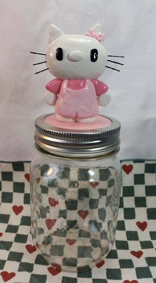 Handmade polymer clay kitty, money jar, treats jar, candy jar, white cat, cat lovers, home decor, gift for her, made to order, hello kitty by BloominClay on Etsy