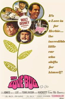 The Love Bug (1968), sometimes referred to as Herbie the Love Bug is the first in a series of comedy films made by Walt Disney Productions that starred an anthropomorphic pearl-white, fabric-sunroofed 1963 Volkswagen racing Beetle named Herbie. It was based on the 1961 book Car, Boy, Girl by Gordon Buford.