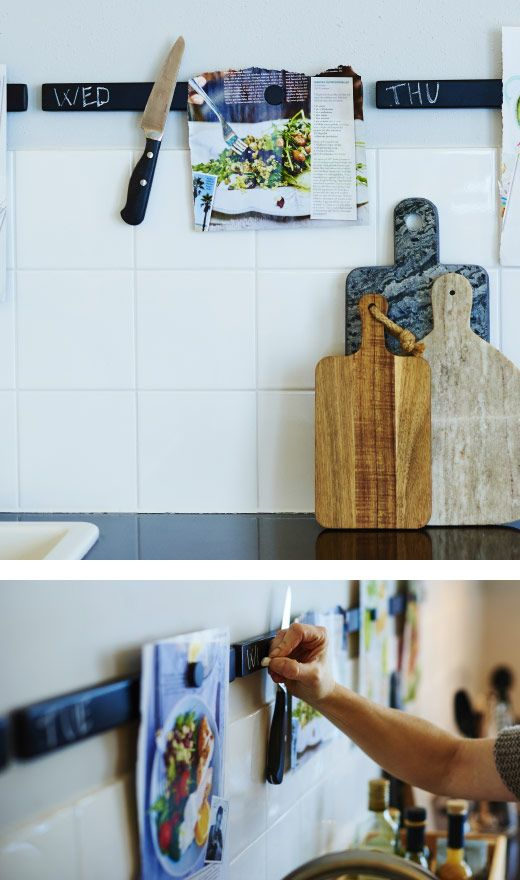 Knife rack painted with chalkboard paint hold knives and recipes.