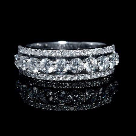 NEW: Three row diamond wedding ring featuring 54 round brilliant cut white diamonds 1.50ctw set in 18k white gold. #love #bridal #jewelry