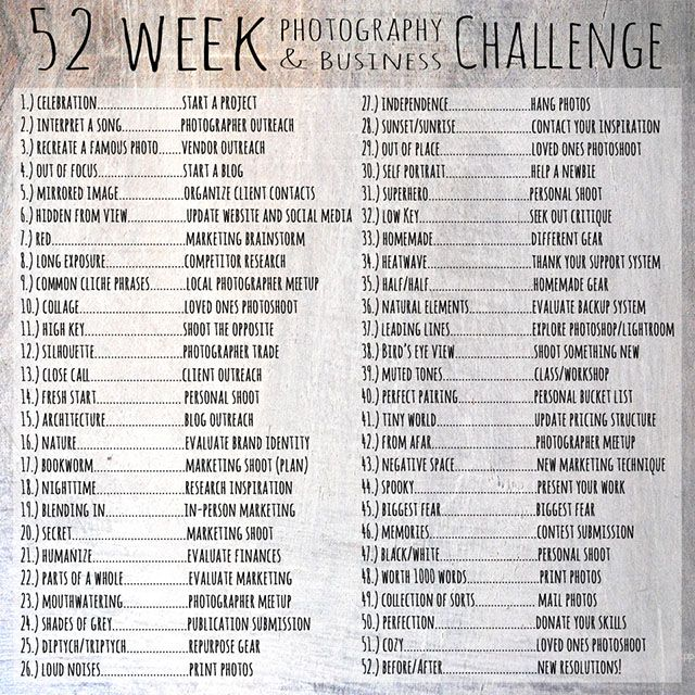 The 52 Week Photography and Business Challenge