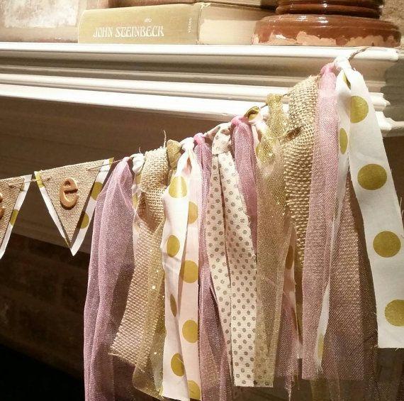 The Pink & Gold Pizazz polka dot banner! Customizable banner. Princess, ballerina, photo prop, baby shower, nursery decor, rustic wedding