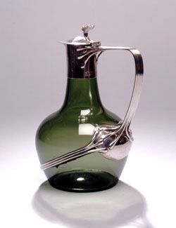 Arts & Crafts Guild Of Handicraft Ltd.  Silver Mounted Green Glass Claret Jug, England  c. 1903