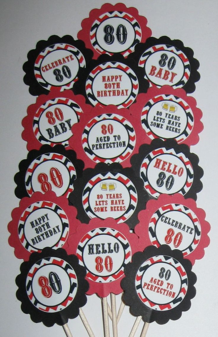80th birthday borders and frames 80th birthday card - 80th Birthday Cupcake Toppers Party Picks 15pc Set Item 1598