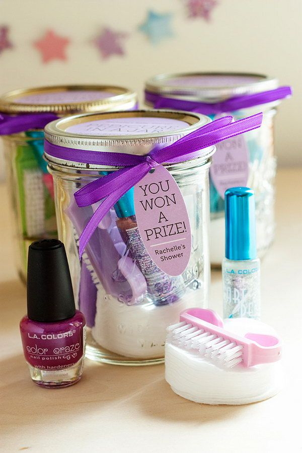 Fill Mason Jars with Pedicure Supplies to create Useful Gift Favors