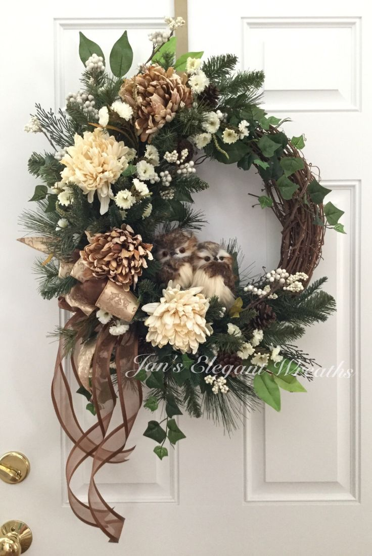 Front door christmas wreaths - Winter Owl Wreath Winter Wreath Christmas Wreath Luxury Wreath Elegant Winter Wreath