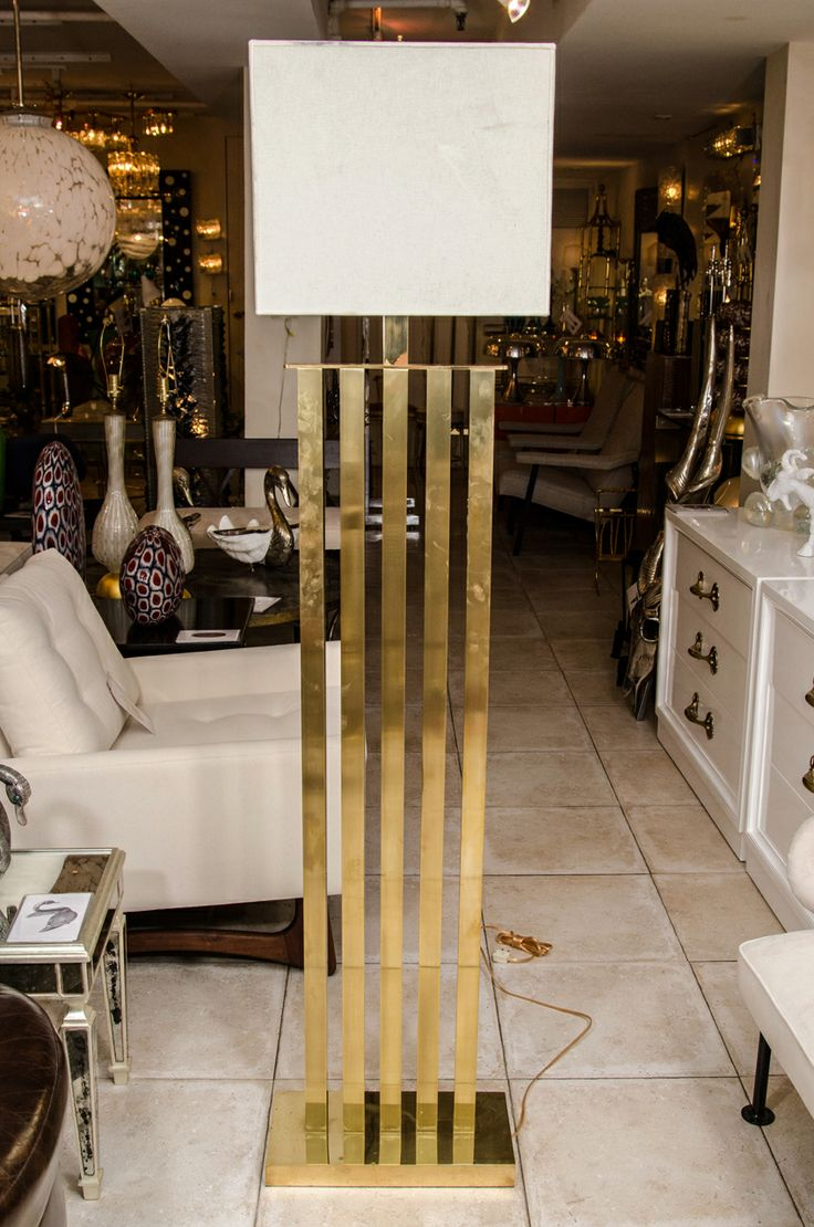 Vintage brass and marble three arm arc floor lamp at 1stdibs - Rectilinear Standing Brass Floor Lamp