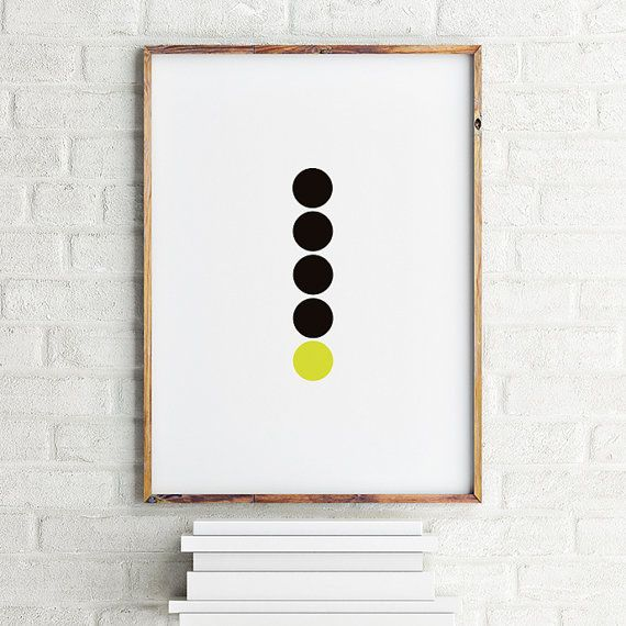 Geometric art poster 4 Black Dots and 1 Lime / by MBmindbackup
