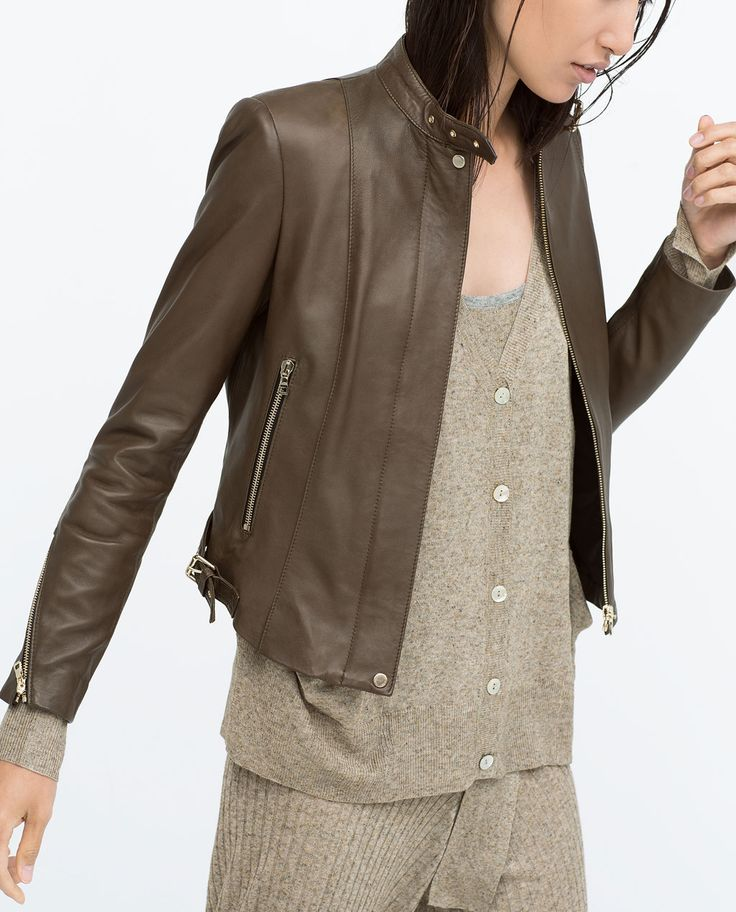 Image 5 of TAB COLLAR LEATHER JACKET from Zara 279.00
