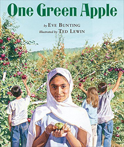 Bunting, E., & Lewin, T. (2006). One green apple. New York: Clarion Books. In a contemporary setting of a traditional American field trip, Farah is a Muslim immigrant who is trying to fit in with the other students. She does not speak English but communicates through gestures. Bunting uses an apple as a metaphor for immigration and how other cultures bend together to make a new culture.
