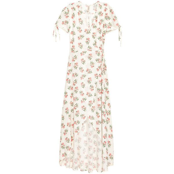H&M Patterned Wrap-front Dress $39.99 ($40) ❤ liked on Polyvore featuring dresses, flower print dress, white v neck dress, white dress, floral wrap dress and floral dresses