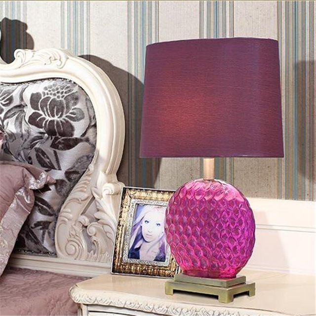 Современная мода Ручной Розовый Фиолетовый Кристалл Стекло Ткань Led E27 Настольная Лампа для Свадебный Декор Спальня Гостиная 1351