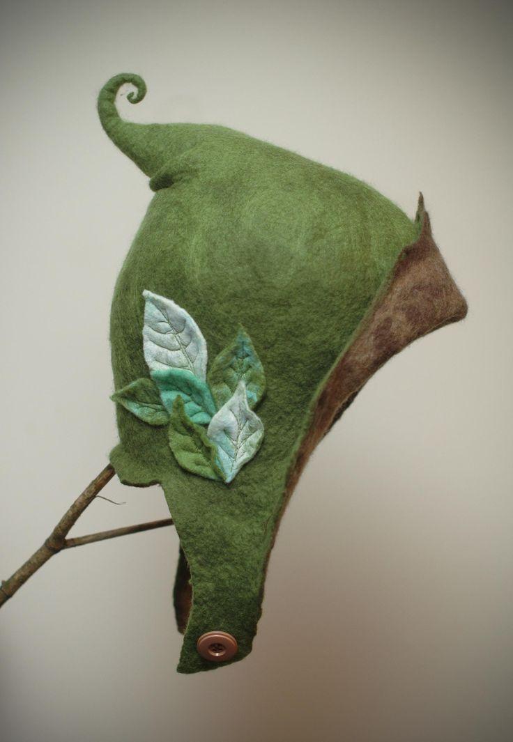 felt elf hat made with hand sculpted merino fibres  www.facebook.com/lalabugdesigns