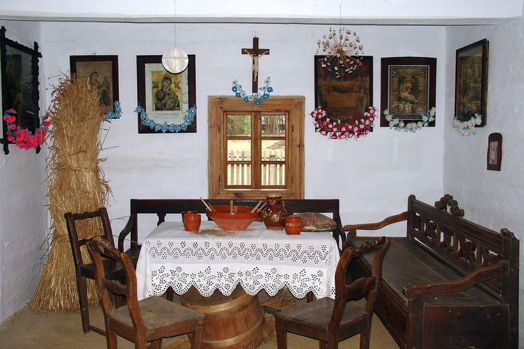 Świąteczny wystrój wiejskiej chaty, skansen w Kolbuszowej