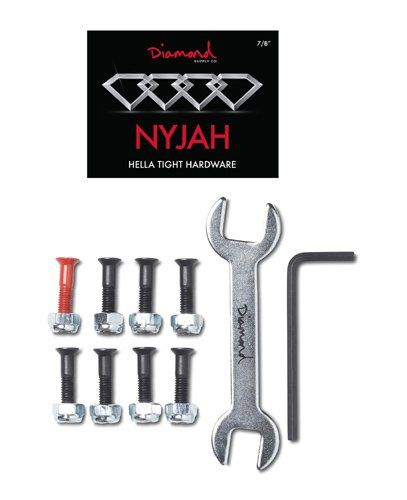 Diamond Hella Tight Hardware - 7/8inch (Nyjah Huston) Diamond Supply Co Nyjah Houston Signature Skate Hardware Bolts 7/8 in black with silver nuts and 1x Red bolt. This premium skateboard hardware included a wrench and all (Barcode EAN = 5052651899927) http://www.comparestoreprices.co.uk/december-2016-6/diamond-hella-tight-hardware--7-8inch-nyjah-huston-.asp