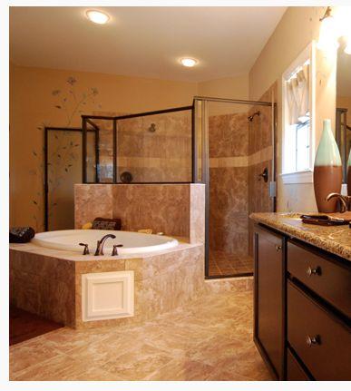 Master bathroom tub with walkthrough shower behind it