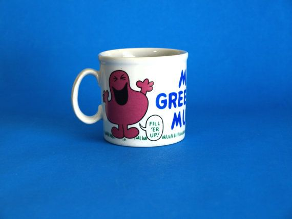 Retro Roger Hargreaves Mr Greedy Mug  Vintage Kitsch by FunkyKoala