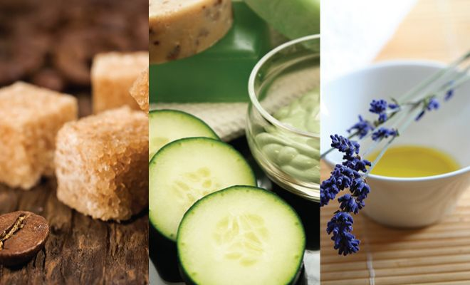 Cucumber, lime, olive oil and a few more ingredients make a sugar scrub