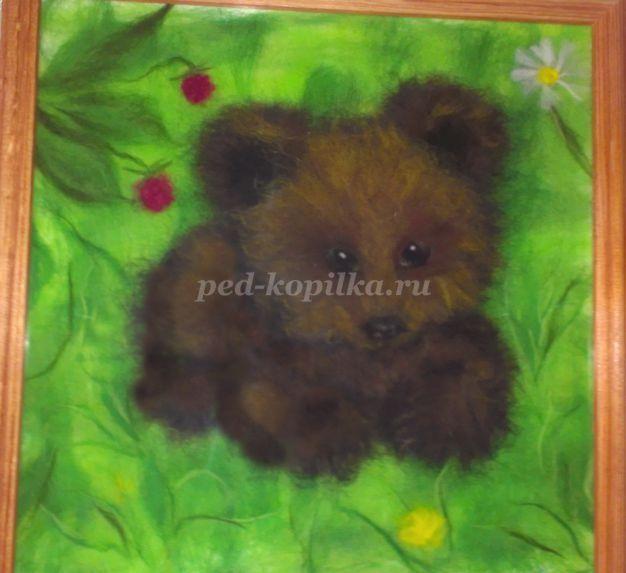 Картина из шерсти Волчок. Мастер-класс