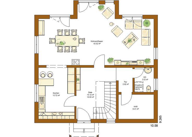 CLOU 157 Satteldach Grundriss Erdgeschoss