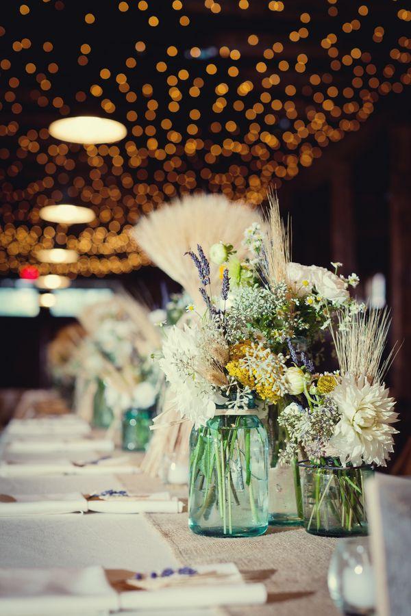 Wheat wildflowers mason jars masons and wedding