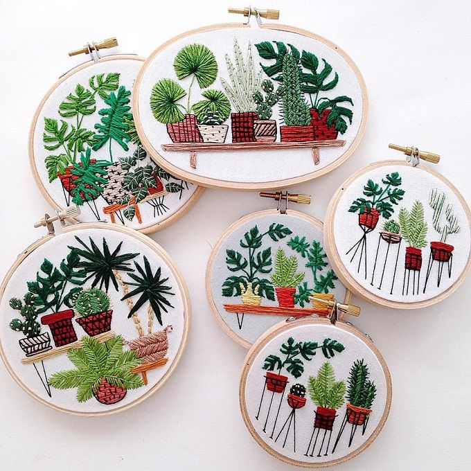 Meticulously Embroidered Houseplants by Sarah K. Benning